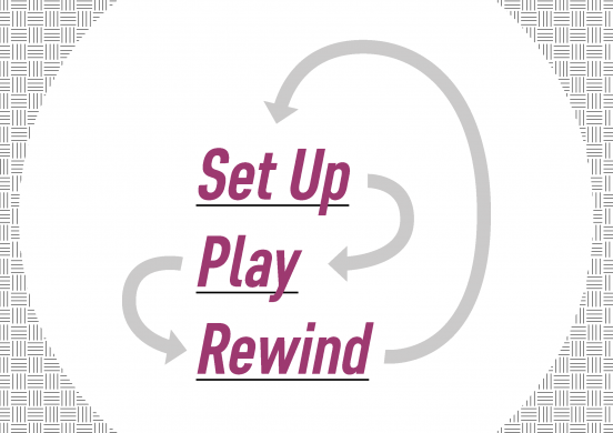 Text slide that shows 3 stages: Set Up, Play and Rewind. They are connected in a cycle made of arrows, but in a twisted and wonky not at all straightforward way.