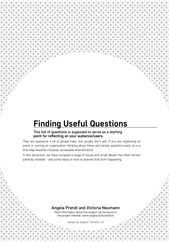 "Title page of a document called ""Finding useful questions"" That is supposed to be a resource for people to learn about accessibility and inclusion"