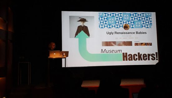 "Conference Presentation, the slide shows a tumblr site dedicated to ""Ugly Renaissance Babies"", it is presented as a museum hack."