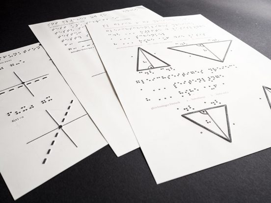 3 Pages swell paper with maths graphics and formulas on a black background.