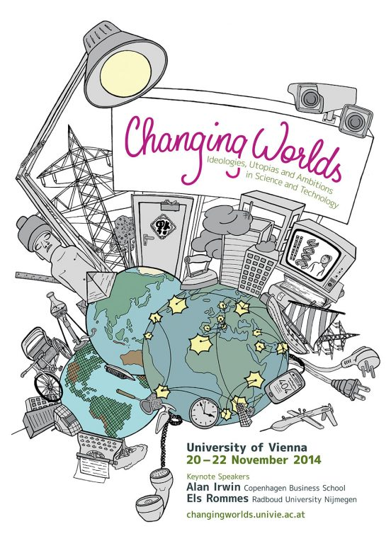Poster for the Changing Worlds Conference 2014. On a white Background, 3 views of planet earth are in the bottom left corner. Together they show a full world map. A lot of cultural and technical artifacts grow out of the worlds. On top we have a billboard with the conference title, the contact details are in the bottom right corner.