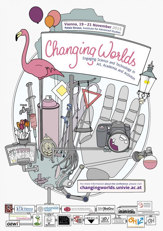 Poster for the Changing Worlds Conference 2015. The poster is an illustrated planet earth with lots of artefacts such as a flamingo, a spray can, a swing, a tree, a robot hand, a street lamp and lab bottles growing out of it. In this forest of artefacts, signs are places that contain the conference Logo and website link.