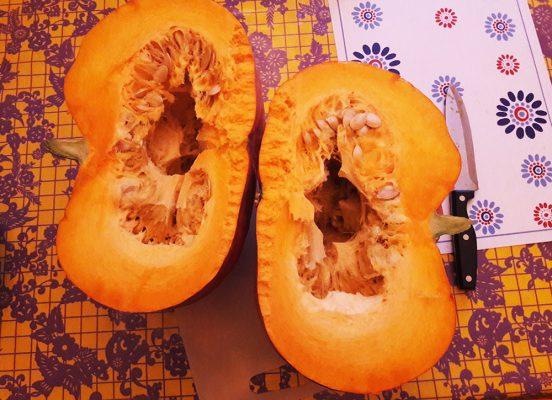 Pumpkins, in preparation for making pumpkin ketchup.
