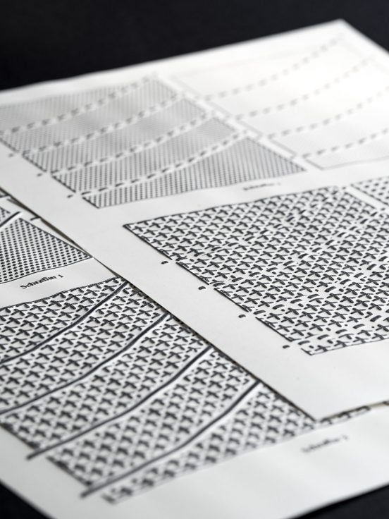 Close up of swell paper with different surface patterns and line styles