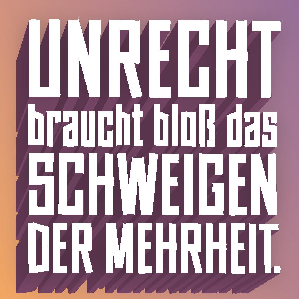 Sticker mit Orange und Violettem Hintergrund und weißem Text